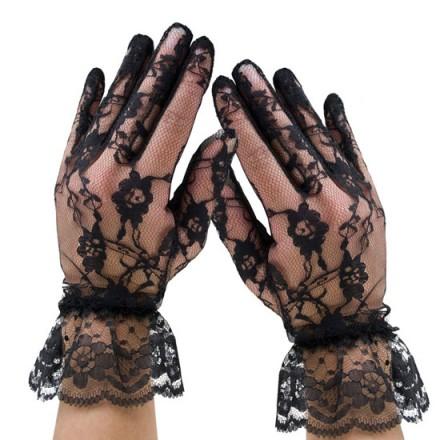 leg avenue guantes de encaje con volante
